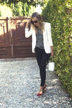 Kelly Wearstler Cyclone Squares Top {$125} // Black Jewel Zipper Jeans {$145, c/o} // Helmut Lang Relic Blazer {$620} // Coach White Wristlet {$138, c/o} // Red Basic Leather Pointy Toe Heels {$99} // Jennifer Zeuner Initial Ring //  Vita Fede & Cartier Bracelets