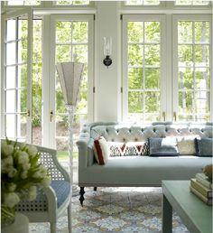 Kate Ridder - living room tile floor blue green