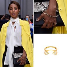 We love seeing the beautiful Jada Pinkett Smith  rocking her Gold and Diamond Midi Dagger Ring as a pinky ring at the Chloe #SS16 fashion show at Paris Fashion Week last week.  #JadaPinkettSmith #pfw #paris #fashion #style #DaggerRing #Gold #diamonds #finejewelry #rachelkatzjewelry #chloe