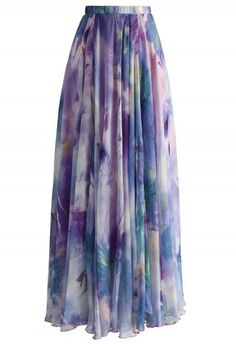 Dancing Watercolor Floral Maxi Skirt in Violet - Skirt - Bottoms - Retro, Indie and Unique Fashion Purple Maxi Skirts, Purple Skirt, Printed Maxi Skirts, Maxi Floral, Floral Print Skirt, Floral Skirts, Floral Chiffon, Patterned Skirt, Unique Fashion
