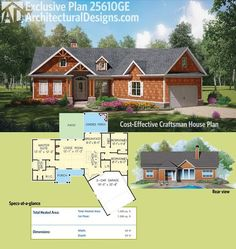 Architectural Designs 3 Bed Craftsman House Plan gives you over 1,300 square feet of heated living space in a split-bedroom layout. Ready when you are. Where do YOU want to build?