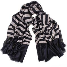 Black Black and Ivory Striped Cashmere Shawl ($260) ❤ liked on Polyvore featuring accessories, scarves, holiday scarves, shawl scarves, striped shawl, woven scarves and cashmere shawl