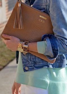 """Love the monogrammed clutch - GiGi NewYork """"Mrs.Shah or DS""""                                                                                                                                                                                 More"""