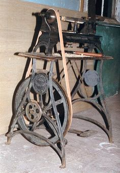 Treadle wood lathe by W.C. Young