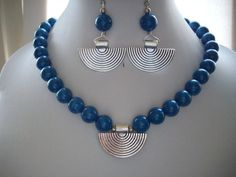 Baltic Royal Blue Fossil Stone Beads with by DesignsbyPattiLynn, $60.00