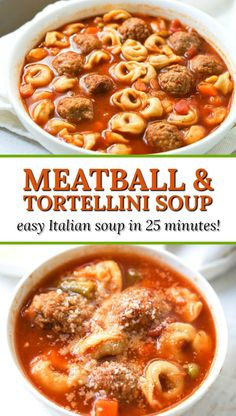 Easy Italian Meatball & Tortellini Soup Recipe – hearty soup in 25 minutes! Easy Italian Meatball & Tortellini Soup – hearty delicious soup in 25 minutes and no chopping! Italian Soup Recipes, Easy Soup Recipes, Cooking Recipes, Healthy Recipes, Healthy Soup, Easy Tortellini Recipes, French Recipes, Healthy Fats, Meat Recipes