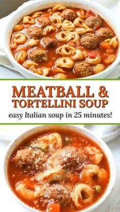 Easy Italian Meatball & Tortellini Soup Recipe – hearty soup in 25 minutes! Easy Italian Meatball & Tortellini Soup – hearty delicious soup in 25 minutes and no chopping! Easy Soup Recipes, Cooking Recipes, Healthy Recipes, Easy Tortellini Recipes, Recipes For Soups And Stews, Sausage Tortellini Soup, Healthy Soup, Easy Italian Meatballs, Recipes With Meatballs