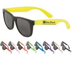 Adult-sized sunglasses. Black plastic frames with tinted lenses. Our lenses feature ultraviolet protection level UV400. Available in 9 colors.  Perfect for DJ giveaways, parties, concession and souvenir stands, company picnics, bar mitzvahs, sweet sixteen parties and more....On sale for $0.79 ea. through Jul 31