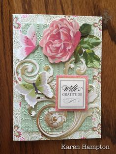 Anna Griffin rose and butterflies card