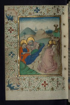 Illuminated Manuscript, Book of Hours in Dutch, Agony in the Garden of Gethsemane, Walters Manuscript W.918, fol. 104v   by Walters Art Museum Illuminated Manuscripts