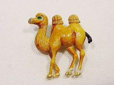 Vintage Mamselle 2 Hump Camel Pin Enamel w Rhinestone Eye High Detailed Relief #Mamselle