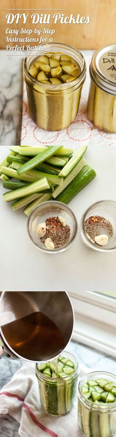 EASY DIY Homemade dill pickles recipe. These are a great candidate for canning and preserving, but are also divine in the refrigerator. If you're after a tasty refrigerator pickle, you only need a little time one afternoon to put some of these away.