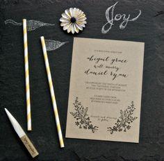 neutral organic rustic wedding invitation suite on kraft paper, Heart Love Weddings