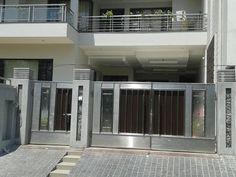 Iron Gate Design, House Gate Design, Door Design, Modern Steel Gate Design, Modern Design, Stainless Steel Gate, Steel Railing, Sliding Gate, Wooden Gates