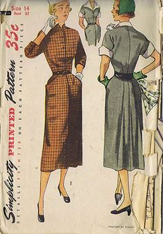 Vintage 50's One Piece Dress Pattern with Detachable Collar and Cuffs    The bodice features kimono sleeves.  The skirt is fitted with a yoke and pockets.  Style 1 features three quarter length buttoned sleeves, a mandarin collar and braid trim.  Style 2 has a V neckline and short sleeves.  It features a detachable pointed collar and cuffs.
