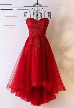 Shop Unique Burgundy High Low Tulle Cheap Prom Dress With Appliques online. SheP… Shop Unique Burgundy High Low Tulle Cheap Prom Dress With Appliques online. SheProm offers formal, party, casual & more style dresses to fit your special occasions. Strapless Homecoming Dresses, High Low Prom Dresses, Unique Prom Dresses, Lace Party Dresses, Formal Evening Dresses, Pretty Dresses, Beautiful Dresses, Short Dresses, Elegant Dresses
