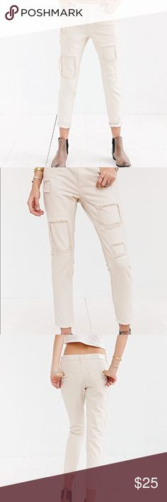 """BDG Slim Fit Boyfriend Jean Tea Stain Patch Product Sku: 34286906; Color Code: 011 Destroyed + patched skinny jean cut in a relaxed, slouchy fit from UO's original staple label, BDG. Sits at the hip and is gently eased through the hip and thigh with a tapered leg. Finished with a mid-rise and an ankle that can either be cuffed or worn down.  Content + Care - Cotton - Hand wash - Imported Size + Fit - Model is wearing a 26 - Measurements taken from size 28 - Rise: 9.75"""" - Waist: 17.25""""…"""