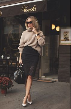 When transitioning from winter weather to your spring wardrobe, hold onto those oversized sweaters a little longer and use Silvia Postolatiev as your guide. Pairing a tight-fitting pencil skirt (the lace is a bonus), classic pumps and a thick sweater...