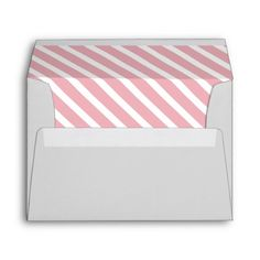 Elegant Pink and White Diagonal Stripes Pattern Design Custom  Grey Wedding Envelopes with personalized monograms of bride and groom.  Matching Save the Date Wedding Announcements, Bridal Shower Invitations, Wedding Invitation Cards, Wedding Postage Stamps, Bridesmaid to be Request Cards, Thank You Cards and other Wedding Stationery and Wedding Gift Products available in the Modern Design Category of the Best Day Ever store at zazzle.com