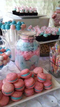 Pink and Blue Baby Shower Dessert and Candy Table | Frosted Cakery