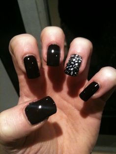 """Check out that studded nail.: This would go great with any one of the Sherri Hill dresses. One that comes to mind is the """"Sherri Hill 2900"""" it has just enough edge to make the look and i love how you could simply change the black to a softer color and still have the jems on the ring finger! what an amazing nail choice!"""