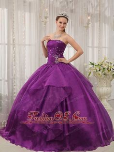Low Prince Purple Quinceanera Dress Strapless Organza Beading Ball Gown  http://www.fashionos.com    What a romantic quinceanera dress! It features a strapless bodice which is so pretty, yet the ruched fabric adorned by the scattered beading on the bust and the waist area will also makes you unique. The wide band in the middle section will add more interests and detail. For the skirt, accented by the soft fabric in asymetrical cut gives you a touch of elegance when you walk.