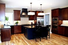 Dark Cabinets With Light Wood Floors