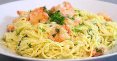 Krämig pasta med scampi & vitlök