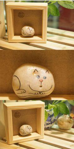 手绘石头 可爱小猫 石趣部落QQ249635143