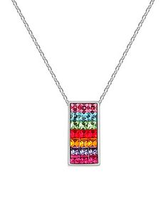 Multicolor Swarovski® Crystal Rectangular Pendant Necklace