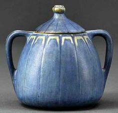 lighting, Louisiana, A Newcomb College art pottery lidded sugar bowl, 1933, decorated by Sadie Irvine and Aurelia Arbo, stylized Art Deco fo...