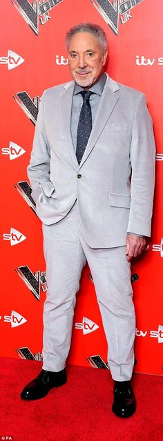Dapper dudes:Also at the photocall was Tom Jones, who looked dapper in a grey fitted suit. January 2018, The Voice