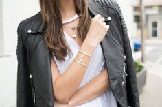 Our limitless bracelet in silver with raw diamond as worn by Tienlyn Jacobson of the Thoughtful Misfit. Raw Diamond, Misfits, Toronto, Street Style, Thoughts, Bracelet, Model, Silver, Travel