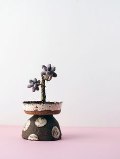 The spotted soup bowl and stoneware bowl from Makers General Store create a cool totem planter when stacked. | handmade has soul