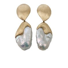 White Baroque Fresh Water Pearl Earrings | YVEL