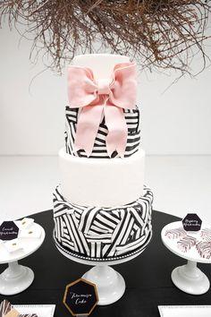 Elegant Black & White Striped Cake