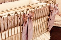 Purples/lavenders and creams! Completing the luxury nursery design is the fabulous silk crib bedding set, designed by Little Crown Interiors and made by Angel Song. Taupe Nursery, Chic Nursery, Girl Nursery, Nursery Decor, Nursery Room, Girl Room, Girls Bedroom, Celebrity Nurseries, Antique Nursery