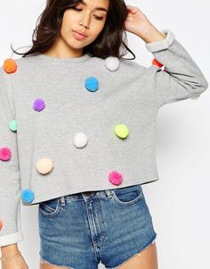 Buy ASOS Multi Pom Pom Sweatshirt at ASOS. With free delivery and return options (Ts&Cs apply), online shopping has never been so easy. Get the latest trends with ASOS now. Diy Pullover, Diy Sweatshirt, Sweat Shirt, Diy Shirt, Pom Pom Shirts, Pom Pom Sweater, Diy Fashion, Fashion Outfits, Fashion Online