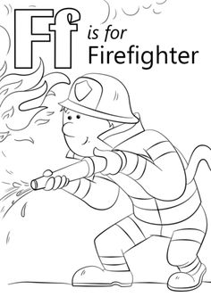 Letter F is for Firefighter coloring page Free Printable Coloring Pages Preschool Coloring Pages, Alphabet Coloring Pages, Free Printable Coloring Pages, Coloring For Kids, Preschool Colors, Preschool Letters, Preschool Printables, Printable Crafts, Preschool Worksheets
