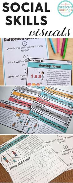 Printable social skills visuals - perfect for social groups and speech and language therapy! From Speechy Musings. Tap the link to check out sensory toys! Social Skills Autism, Social Skills For Kids, Social Skills Activities, Teaching Social Skills, Speech Therapy Activities, Social Emotional Learning, Language Activities, Learning Skills, Articulation Activities