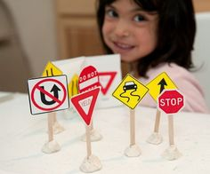 Popsicle stick traffic signs