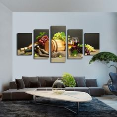 Wine Blend Multi Panel Canvas Wall Art by ElephantStock is printed using High-Quality materials for an elegant finish. We are the specialists in Modern Décor canvas prints and we offer 30 day Money Back Guarantee Retro Home Decor, Modern Decor, Diy Home Decor, Vases Decor, Art Decor, Wine Bottle Wall, White Lamp Shade, Colorful Artwork, Diy Table
