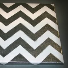 This is how I did my chevron pattern on a 12 x 12 canvas from my local craft store. I bought these canvases in a bulk of about seven. This was...