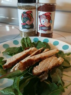 Code 3 Spices Rescue Rub & Grunt Rub Grilled chicken over some power greens