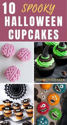 List of 10 creepy scary halloween cupcakes to chose and make this season. Each cupcakes are supe easy to make and very spooky. Halloween Baking, Halloween Desserts, Halloween Food For Party, Halloween Cupcakes, Halloween Treats, Cupcake Images, Cupcake Ideas, Cupcake Recipes, Dessert Recipes