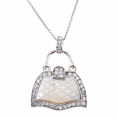 ClassicDiamondHouse Mother-Of-Pearl C.Z. Diamond Silver Handbag Pendant - Incl. ClassicDiamondHouse Free Gift Box & Cleaning Cloth ClassicDiamondHouse. $50.60. Wow!Packed in a Beautiful Engraved box And Free Cloth. Save 66% Off!