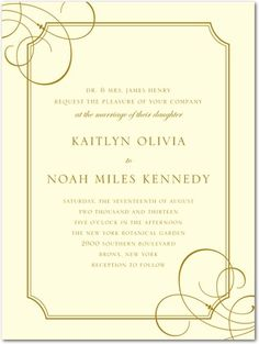 Thermography Wedding Invitations Deco Lines - Front : TH Gold