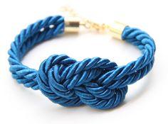 Blue silk Knot Bracelet  24k gold plated by TheUrbanLady on Etsy, $15.99