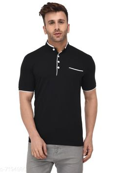 Tshirts Men's Solid Mandarin Collar Black T-Shirt Fabric: Cotton Sleeve Length: Short Sleeves Pattern: Solid Multipack: 1 Sizes: S (Chest Size: 39 in Length Size: 27.5 in)  XL (Chest Size: 45 in Length Size: 29 in)  L (Chest Size: 43 in Length Size: 28.5 in)  M (Chest Size: 41 in Length Size: 28 in)  XXL (Chest Size: 47 in Length Size: 29.5 in) Country of Origin: India Sizes Available: S, M, L, XL, XXL   Catalog Rating: ★4.2 (490)  Catalog Name: Fancy Retro Men Tshirts CatalogID_1148441 C70-SC1205 Code: 853-7194980-999