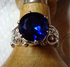 RING Big Blue Sapphire ring 10mm in wide Filigree by ApacheMoon